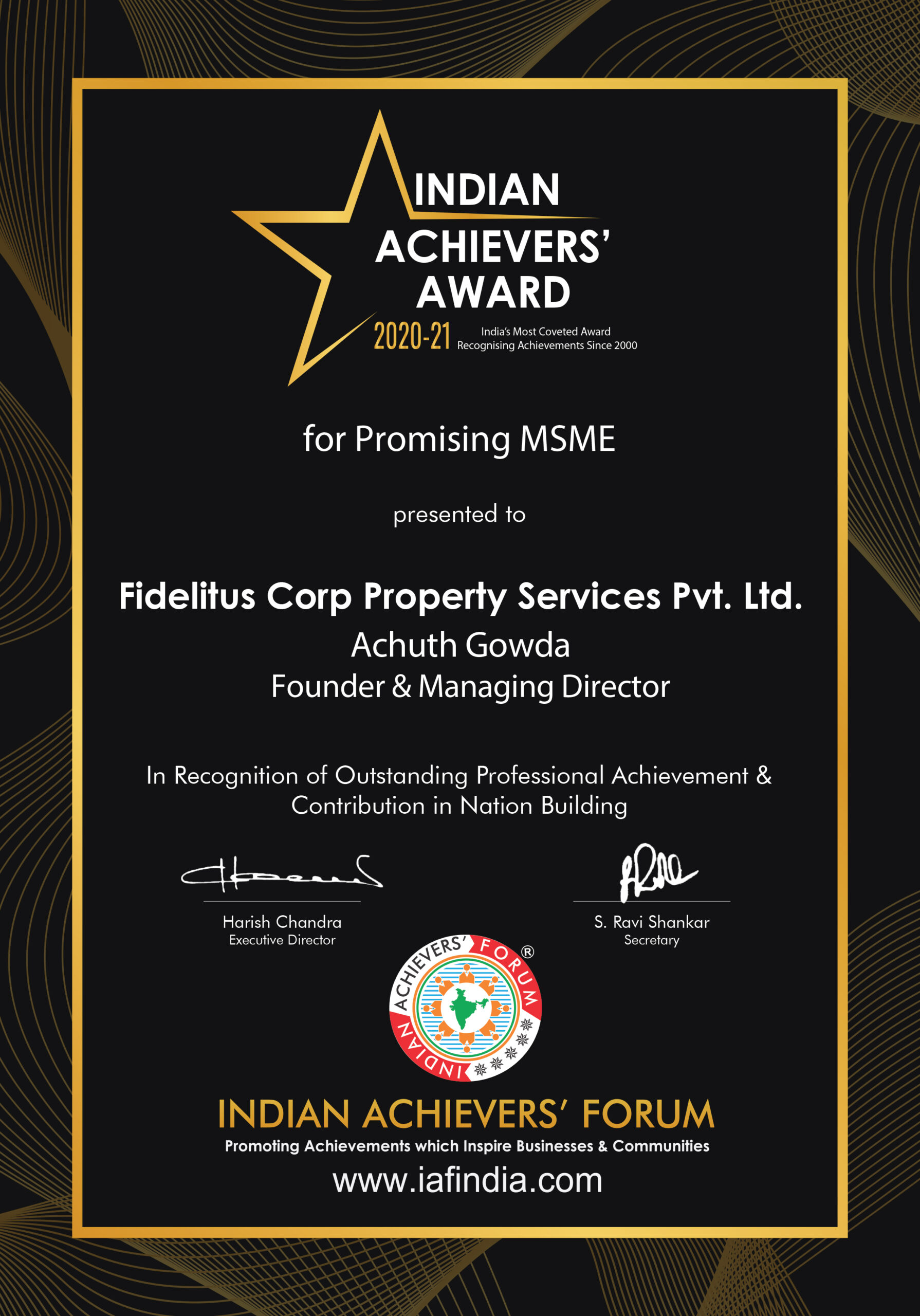 Indian Achievers' Forum Award 2020-21